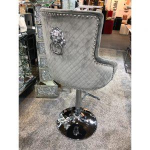 Majestic Grey Fabric Bar Stool