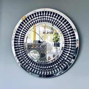 Drop Leaf Round Wall Mirror