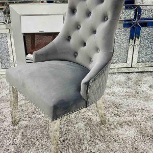Majestic Dark Grey Velvet Dining Chair