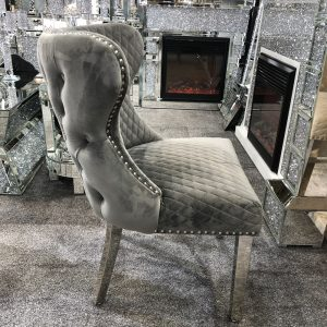 Valentino Grey Velvet Dining Chair