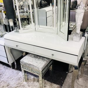 White Curved Dresser