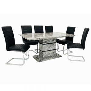 Roseberry Dining Set + 6 New York Chairs (Marble Effect)