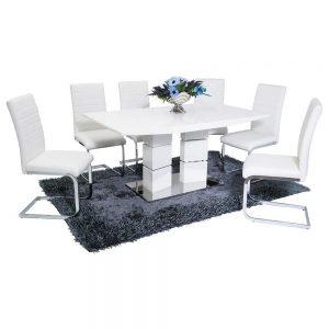 Vegas Dining Set (6 White New York Chairs)