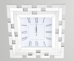 White Glass Mirror Clock