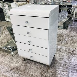 White Curved Chest Of Drawer